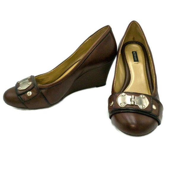 Alex Marie Brown With Silver Buckle Wedges Size 7